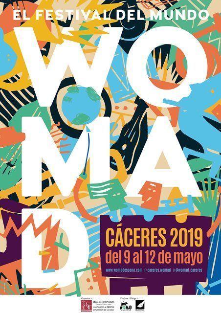 El diseñador Marc Bessant crea un divertido cartel sobre Womad Cáceres 2019