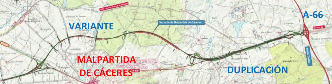 Fomento somete a información pública el proyecto de trazado de la variante de Malpartida en la N-521