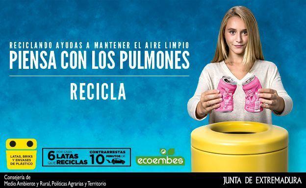 Piensa con los pulmones, campaña de Ecoembes en la que colabora la Junta de Extremadura,  para reducir la contaminación del aire