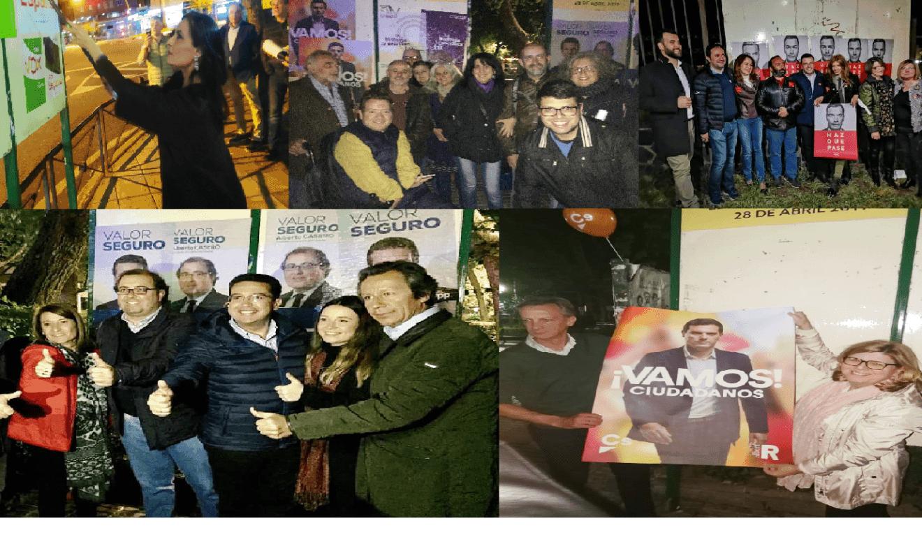 La tradicional pegada de carteles abre la campaña de las elecciones generales del 28-A