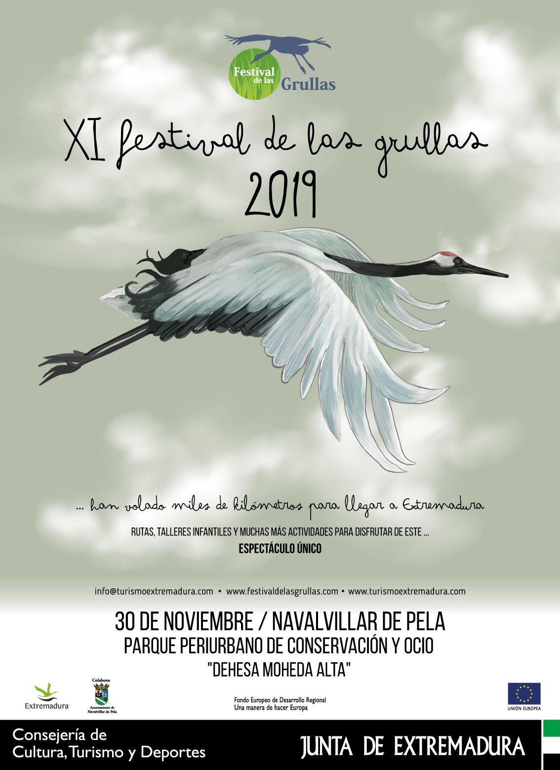 Undécima edición del Festival de las Grullas este sábado en Navalvillar de Pela