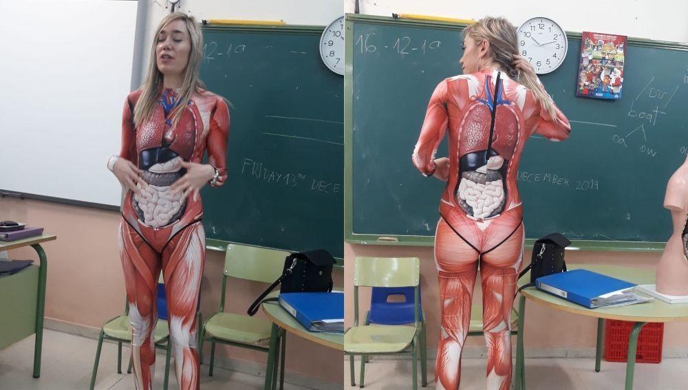 Miss Duque, la profesora extremeña que se disfraza de cuerpo humano para enseñar a sus alumnos