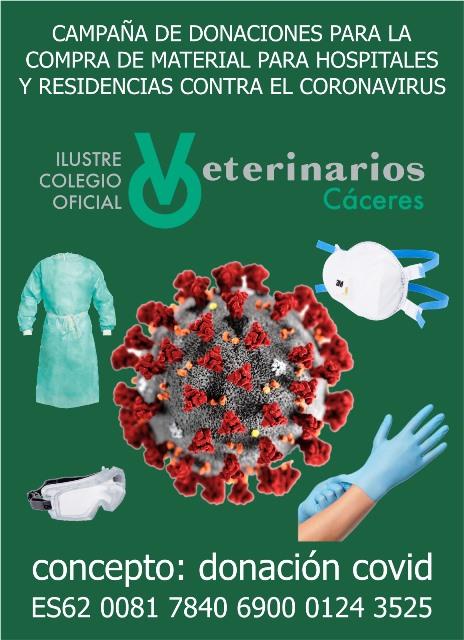 El Colegio de Veterinarios de Cáceres recoge materiales y fondos para los hospitalesy centros de salud