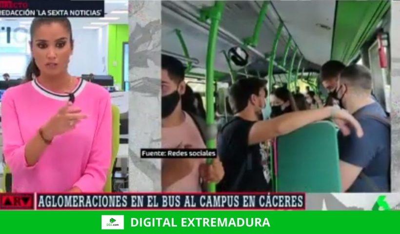 En La Sexta: La línea del bus a la Universidad en Cáceres a tope, en época de pandemia